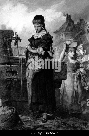 literature, 'Faust I', 17th scene 'At the well', Gretchen at the well, wood engraving by Alexander Liezen Mayer, - Stock Photo