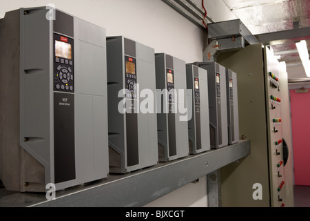 control panels for new installation hvac heating ventilation and air conditioning system in a modern office building - Stock Photo