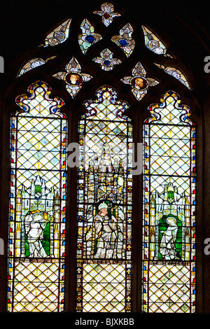 Stained Glass window Christ Church College Cathedral interior Oxford University England UK United Kingdom GB Great - Stock Photo
