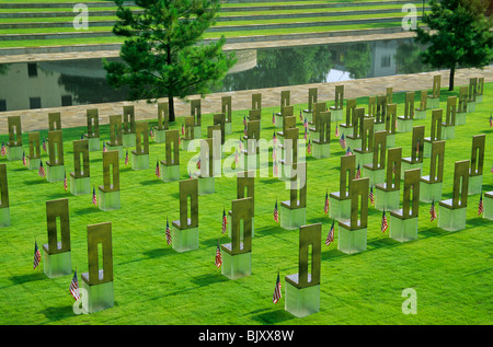 Field of empty chairs and reflection pool at site of bombing, Oklahoma National Memorial, Oklahoma City, Oklahoma, - Stock Photo
