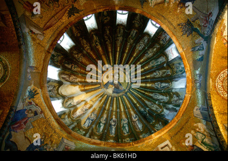 Roof mosaic of Christ the Pantocrator, Church of St. Saviour in Chora, Istanbul, Turkey, Europe - Stock Photo