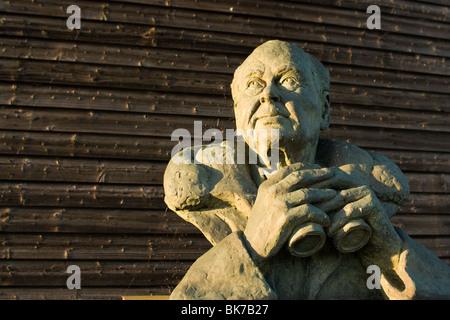 Bust of Sir Peter Scott at Caerlaverock Wildlfowl and wetlands centre - Stock Photo