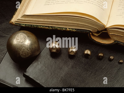 Bullet coins from Ayutthaya period in Thailand, Southeast Asia, Asia - Stock Photo