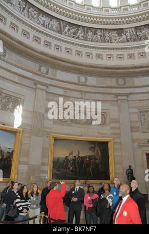 Washington DC United States US Capitol Rotunda history government frieze dome painting Landing of Columbus John - Stock Photo