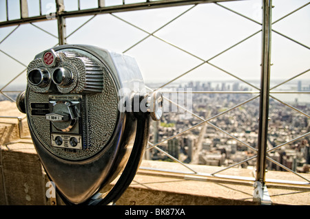 NEW YORK, NY - View from the top of the Empire State Building in New York City on a clear spring day. - Stock Photo