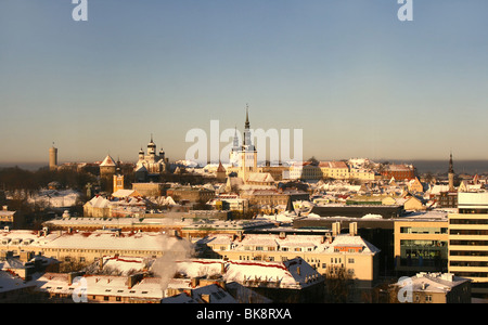 Classic panorama of Old Tallinn in Estonia. View from 16th floor - Stock Photo