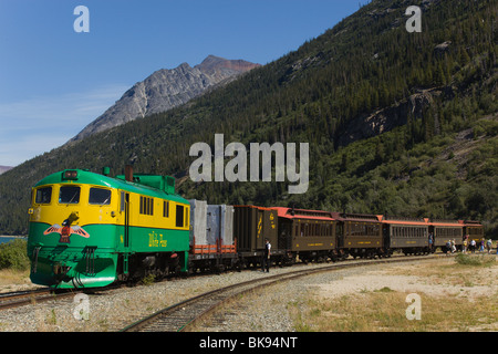 Historic White Pass & Yukon Route Railway, train leaving Bennett station, Chilkoot Pass, Chilkoot Trail, Yukon Territory, - Stock Photo