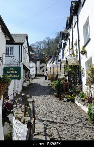 Very steep cobbled street in Clovelly village North Devon - Stock Photo