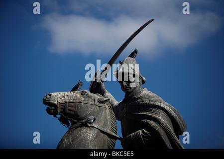 Statue of General Ignacio Allende, a Mexican independence hero, in the Plaza Civica Square in San Miguel de Allende, - Stock Photo