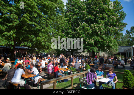 Cafe and beer garden Am Neuen See in Tiergarten, Berlin, Germany - Stock Photo