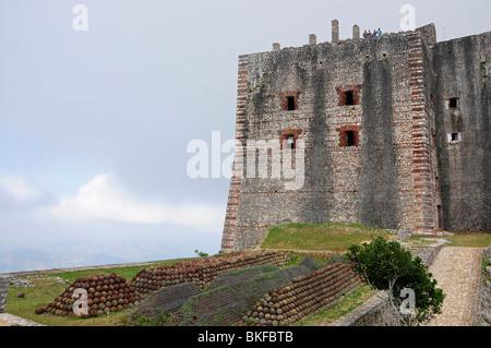 Tourist on top of the Citadel, Milot, Cap Haitien, Haiti, Hispaniola, Greater Antilles, Caribbean, Americas - Stock Photo