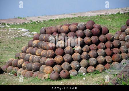 Pile of cannonballs, Citadel in Northern Haiti, Milot, Cap Haitien, Haiti, Hispaniola, Greater Antilles, Caribbean, - Stock Photo