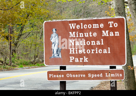 Road and sign Welcome to Minute Man National Historical Park in Concord, Massachusetts USA - Stock Photo