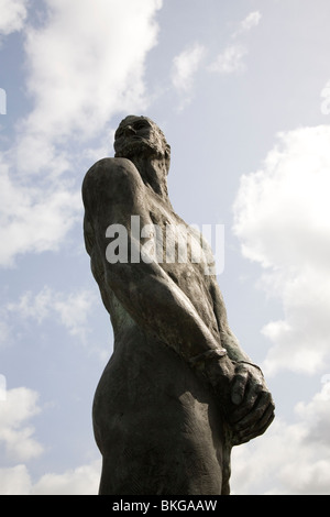 A statue of the pirate Klaus Stoertebeker in Grasbrook, Hamburg, Germany. - Stock Photo