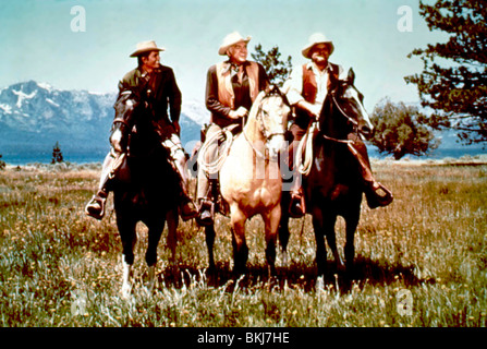 BONANZA (TV) MICHAEL LANDON, LORNE GREENE, DAN BLOCKER BNZ 009 - Stock Photo