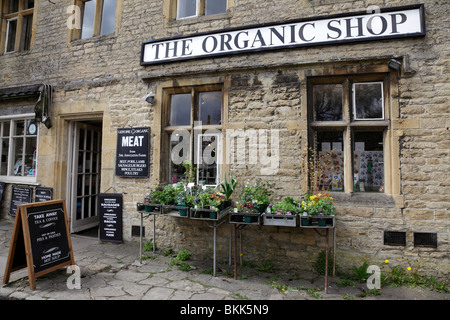 facade of the organic shop in market square stow on the wold gloucestershire uk - Stock Photo