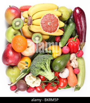 Fruits and vegetables in a square on a white background - Stock Photo