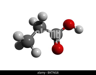 Propionic acid, propanoic acid (colorcode: black=carbon, white=hydrogen, red=oxygen) - Stock Photo