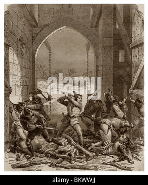 In 1356, Bertrand Duguesclin, dressed up as woodcutter, slaughtered with his axe the soldiers of the the castle - Stock Photo