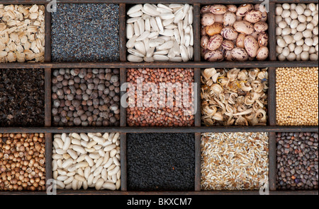 Selection of Vegetable and flower seeds in a wooden tray. Flat lay photography from above - Stock Photo