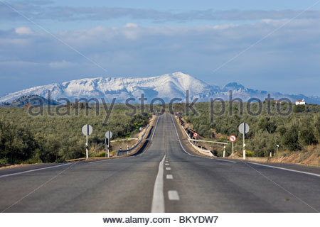 Country road E-902 from Ubeda to Jaen with snow covered mountains in the background, Province Jaen, Andalucia, Spain - Stock Photo