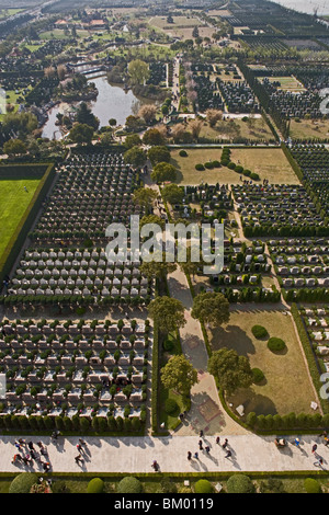 Fu Shou Yuan cemetery, cemetery during Ching Ming Festival, 5th of April, birdseye view of the grave yard - Stock Photo