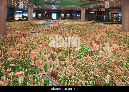 Model of the city of Shanghai at urban planning museum, Shanghai, China, Asia - Stock Photo