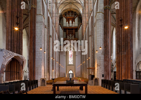 Main nave in St. Mary's church, Marienkirche, Hanseatic city of Luebeck, Schleswig-Holstein, Germany, Europe, UNESCO - Stock Photo