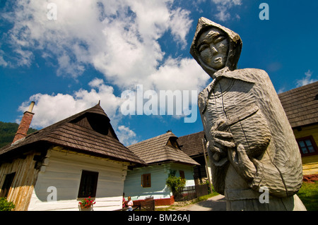 Wooden statue at the entrance to Vlkolinec, UNESCO World Heritage Site, Slovakia, Europe - Stock Photo