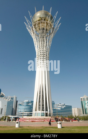 Bayterek Tower, modern landmark, Astana, Kazakhstan, Central Asia - Stock Photo