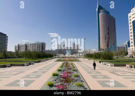Modern architecture near the Bayterek Tower, Astana, Kazakhstan, Central Asia - Stock Photo