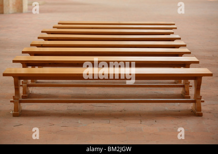 Brou royal monastery benches, Bourg en Bresse, Ain, France - Stock Photo