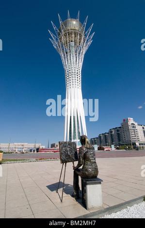 Bayterek Tower, landmark of Astana, Astana, Kazakhstan - Stock Photo