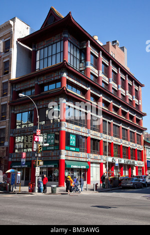Old Golden Pacific National Bank Building on Canal Street in Chinatown, Manhattan, New York - Stock Photo