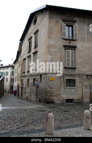 The Piazza di Santa Maria Maggiore, Bergamo Alta, Lombardy, Italy. - Stock Photo