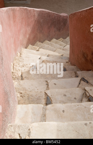 Stairs of house of slaves in the island of Goree, Dakar, Senegal, Africa. - Stock Photo
