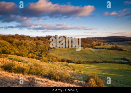 view from Haresfield Beacon, Cotswold hills, Gloucestershire, UK - Stock Photo