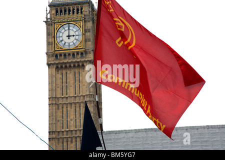 Communist flag near Big Ben. Campaigners set up peace camp in London's Parliament Square - Stock Photo