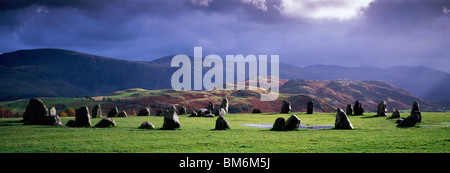 Castlerigg Stone Circle in the Lake District National Park near Keswick, Cumbria, England. This picture includes - Stock Photo