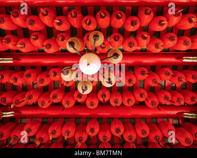 Lanterns under the roof of the Chinese temple in Kuching, Malaysian Borneo - Stock Photo