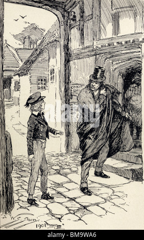 Oliver Encounters a Mysterious Stranger. - Stock Photo