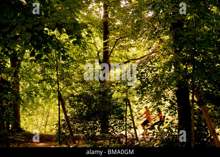 Two cyclists cycling through the woods of the Tiergarten iPark in Berlin - Stock Photo