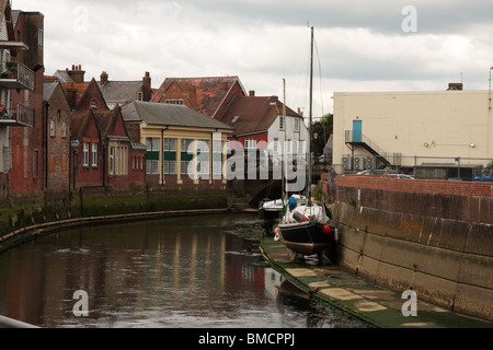 The River Ouse flowing through Lewes East Sussex UK - Stock Photo