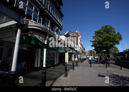 renovated victorian verandas and pavement lord street southport merseyside england uk - Stock Photo