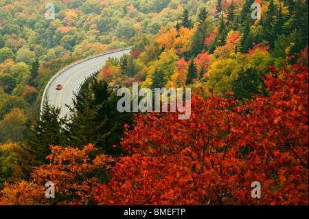 North America, USA, North Carolina, View of road passing by Blue Ridge Parkway, elevated view - Stock Photo