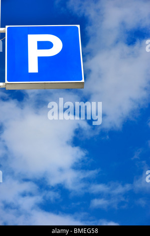 Scandinavia, Sweden, Gothenburg, View of parking sign against sky, low angle view - Stock Photo