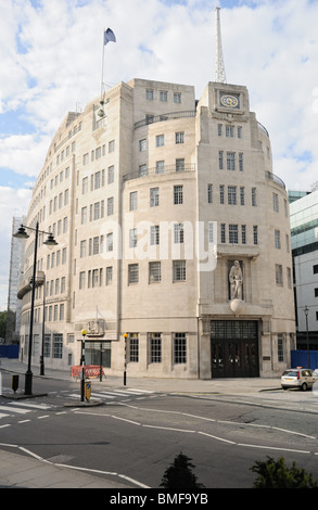 Broadcasting House, the BBC's Corporate headquarters, and home of BBC Radio in Portland Place, London, England, - Stock Photo