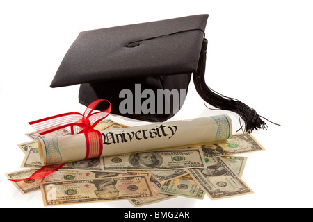 Doctorates and the dollar. Symbol for education costs in America. - Stock Photo
