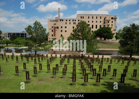 The Field of Empty Chairs at the Oklahoma City National Memorial. - Stock Photo