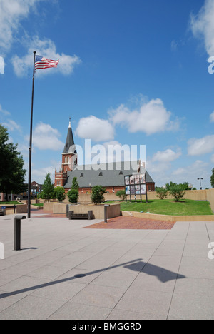 The Murrah Plaza at the Oklahoma City National Memorial with St Joseph's Cathedral in the background. - Stock Photo